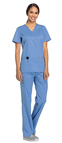 Cherokee Workwear Revolution Women's Medical Uniforms Scrubs Set Bundle - WW620 V-Neck Scrub Top & WW110 Elastic Waist Scrub Pants & MS Badge Reel (Ciel Blue - Medium)