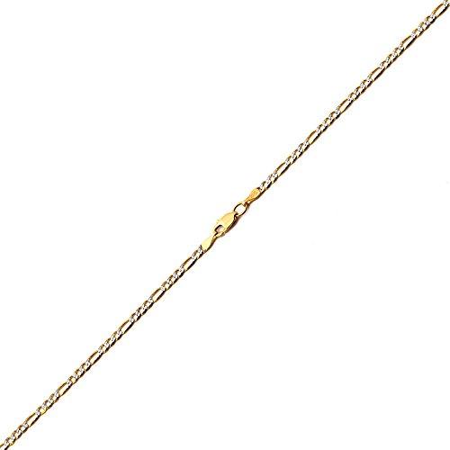 LOVEBLING 10K Yellow Gold 2.5mm Solid Two-Tone Diamond Cut w/White Pave Figaro Chain Bracelet w/Lobster Lock (7) - Figaro Pave Bracelet