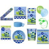 - Boys 1st Birthday Turtle Themed Party Supplies for 16 Guests This Ultimate Party Pack Includes Banner, Table Cover, Cups, Luncheon Napkins, Plates, Treat Bags, Invitations, Curling Ribbon, Streamer, and Balloons - This Bundle Includes 108 Pieces!