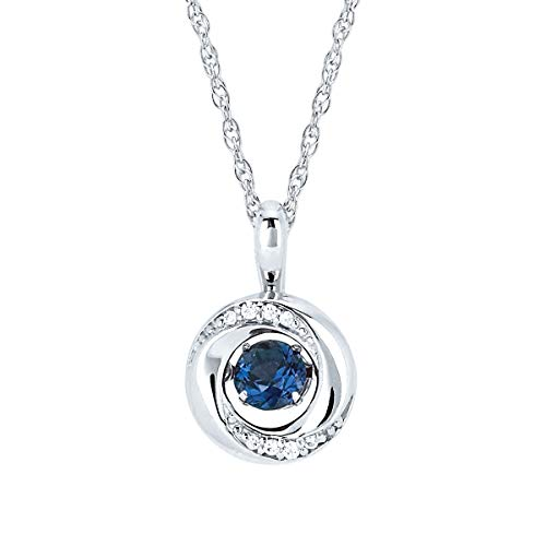 - Brilliance in Motion 925 Sterling Silver 1/5 Carat Dancing Sapphire September Birthstone Knot Pendant Necklace with 18