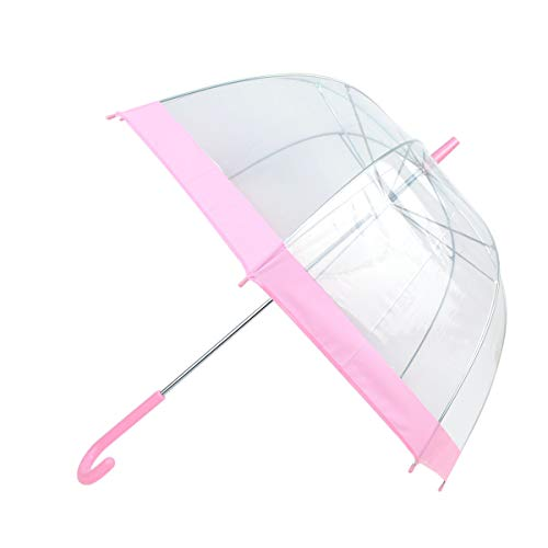 boxed-gifts Selini NY See-Thru-Bubble Wind Resistant Premium Clear Dome Umbrella (Pink)