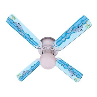 s Ceiling Fan, Kids Playful Dolphins, 42