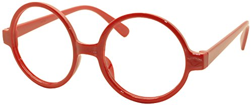 FancyG Retro Geek Nerd Style Round Shape Glass Frame NO LENSES - - Red Round Glasses