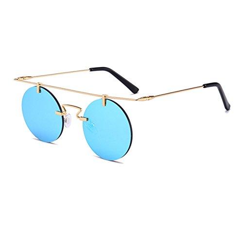 de cadre sans monture ronde vintage Lunettes rondes sans steampunk Keephen Bleu UV400 classiques soleil Or q18wpxf5