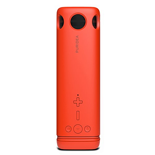 PURIDEA Wireless Portable Bluetooth Speakers V4.0 & 3W Loudspeaker Bass, 8000mAh Battery for 36 Hours Playtime, Sensitive Touch, Handsfree, IPX4 Waterproof (Red, Outdoor Lighting & Power Bank Slot)