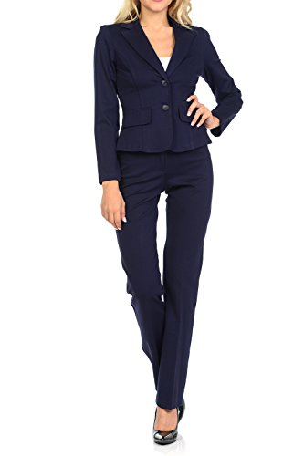 Sweethabit Womens Classic Wear to Work Solid Pants Suit Set(3020set) (Medium, 3108-3107_Navy) by Sweethabit