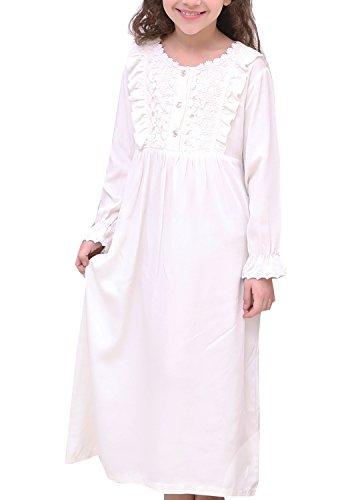 PUFSUNJJ Kids Girls Princess Lace Nightgowns Long Sleeve Sleep Dress Toddler 3-10 Years by PUFSUNJJ