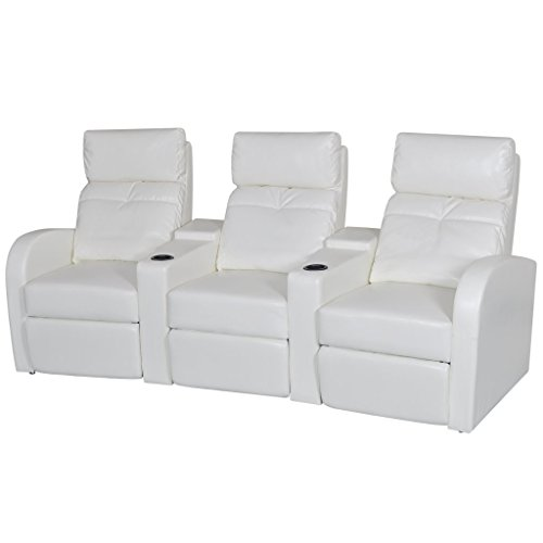 Theater 3 Seater - vidaXL White Artificial Leather 3-Seat Home Theater Recliner Sofa Lounge w/ Cup Holder