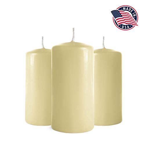 Pillar Candles 3x6 - Set of 6 Ivory Candles - Unscented Pillar Candles Bulk – Tall Pillar Candles for Weddings, Parties, Restaurants, Spa, Bath, Massage Therapy, Religious Ceremonies, Holidays (Ivory)