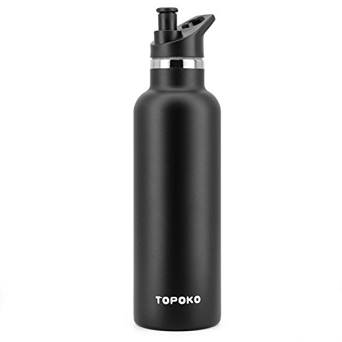25 OZ Vacuum Insulated Stainless Steel Water Bottle With Bite Valve Lid/Cap, Double Wall, Sweat Leak Proof Thermos, Standard Mouth, Reusable Travel Mug. (Piano Black Bite Valve)