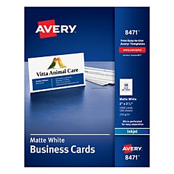 Avery 8471 Printable Microperf Business Cards, Inkjet, 2 x 3 1/2, White, Matte (Box of 1000)