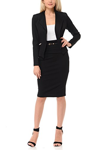 Sweethabit Womens Wear To Work Solid Skirt Suit Set (2X Plus,3125-3087B (Black Womens Skirt Suit)