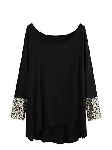 (MakeMeChic Women's Solid Dip Hem Sequin Long Sleeve T-shirt Tee Top Black XL)