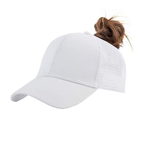 Backless Ponytail Hats Pony tail Caps Baseball for Women (White-2)