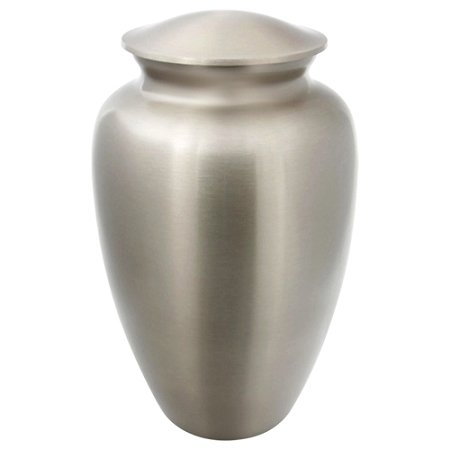 (Silverlight Urns Classic Pewter Cremation Urn, Silver Brass Urn for Ashes, Adult Size, 10 Inches High)