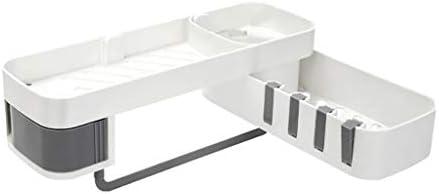シームレスな回転三脚コーナーシャワーシェルフ収納アクセサリー棚キッチンは、三脚のバスルームアクセサリースタンド (Color : Gray)