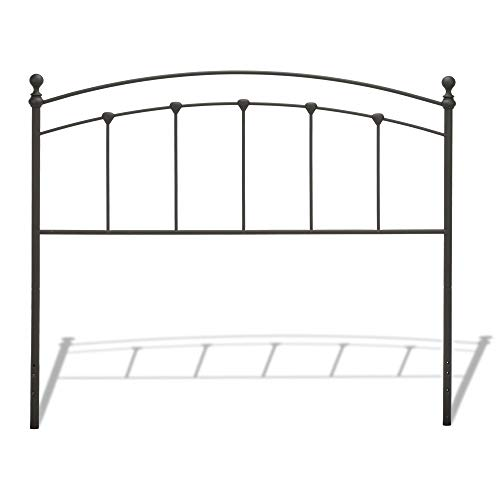 Leggett & Platt Sanford Metal Headboard Panel with Castings and Round Finial Posts, Matte Black Finish, Twin