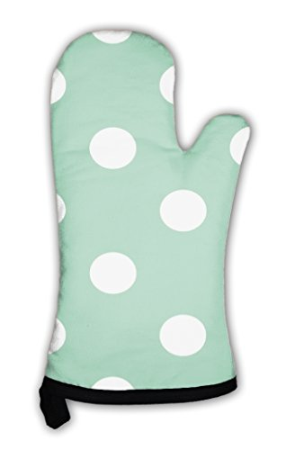 New Dot Pattern - Gear New Oven Mitt, Retro Pattern with Polka Dots On Mint Green, GN24292