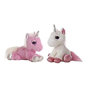 Aurora World Dreamy Eyes Heavenly Pink and White Unicorns 10″ Plush Set