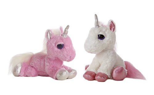 "Aurora World Dreamy Eyes Heavenly Pink and White Unicorns 10"" Plush Set 3"
