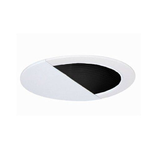 Jesco Lighting TM629BKWH 6-Inch Aperture Line Voltage Trim Recessed Light, Wall Washer With Step Baffle, Black Finish With White Trim