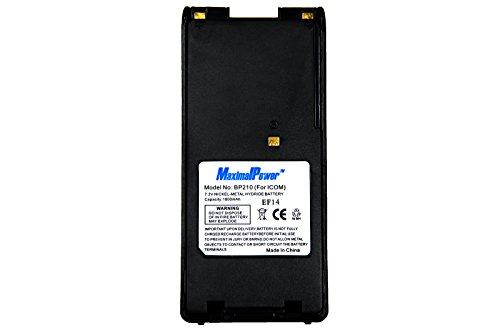 MaximalPower replacement battery 1800mAh Ni-MH 7.2V for ICOM BP210  BP-210 ICOM IC-F21S/F21/F30/F40/F3GS/4GS/GT/GS