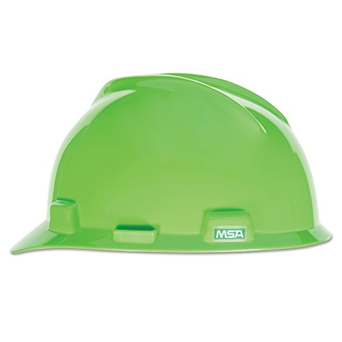 MSA 815565 V-Gard Slotted Hard Hat, Cap Style, Hi-Viz Bright Lime Green with 4-Point Fas-Trac III Suspension, Bright Lime Green from MSA