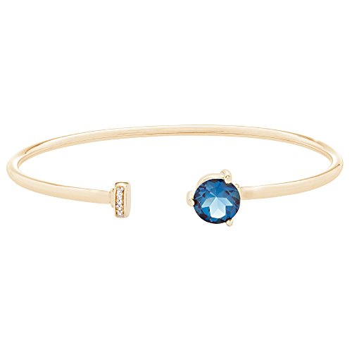 - Brilliant Designers 14K Yellow Gold with 1.6 CT London Blue Topaz & Diamond Accented Wire Open Bangle 6.5