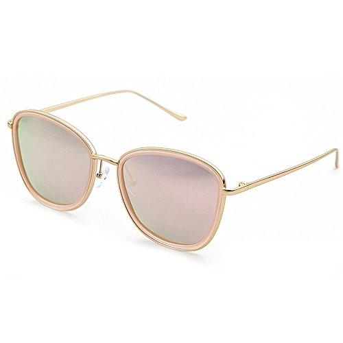 Todos viajan de Plata Marco para señora Gafas Agraciado protección Completo de Color Sol Redonda la Forma La Cara UV Estilo conducción bordeado de polarizadas Gafas Pink Sol GWF Que 1gx7Yww