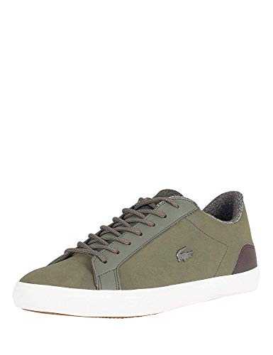 Lacoste Men Lerond 318 2 CAM Leather Trainers, Green Khaki-Brown