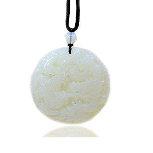 (Opalite Glass Gemstone Dragon and Phoenix Amulet Charm Pendant Necklace 20