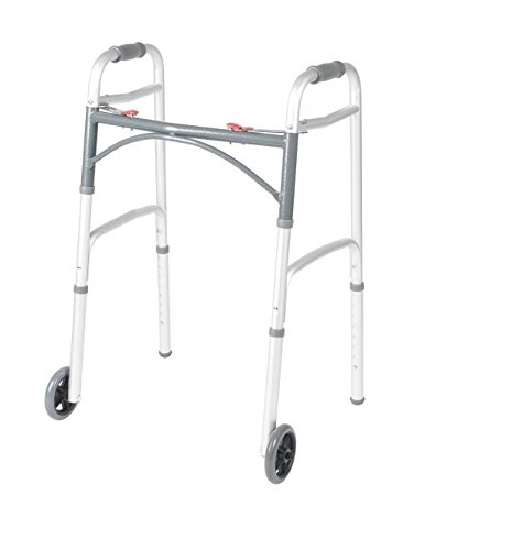 "Front Wheeled Walker Folding Deluxe with 2 Button and 5"" Wheels, Adjustable Height (Short, Standard, Tall People) by Healthline Trading"
