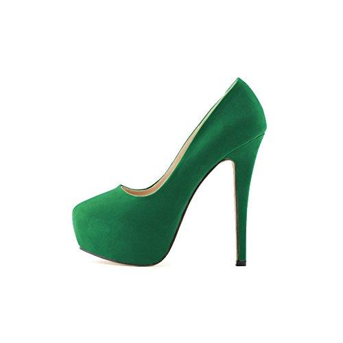 OCHENTA Mujer de la plataforma del tal¨®n talones terciopelo Cuzhen zapatos c¨®modos para caminar fiesta de bodas Verde