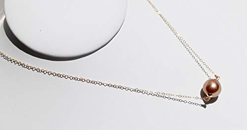 14K solid gold delicate chain with dark golden CHOCOLATE natural ocean pearl 12mm ROUND