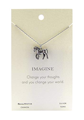 Shag Wear Animal Inspirations Quote Pendant Necklace (Fairy Tale Pony Pendant) (Gold Charm Choker Necklace Pewter)
