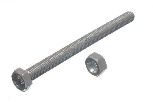 HEX BOLT SET SCREW 8.8 GRADE STEEL M8 X 100MM + NUTS BZP ( pack 4 ) onestopdiy.com