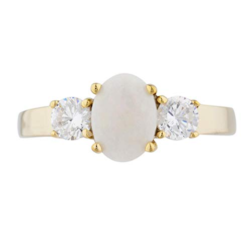 Genuine Opal & Zirconia Oval Round Ring 14Kt Yellow Gold Rose Gold Silver