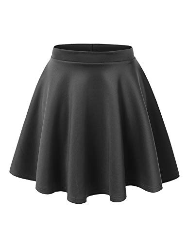 Made By Johnny WB211 Womens Basic Versatile Stretchy Flared Skater Skirt S Charcoal -