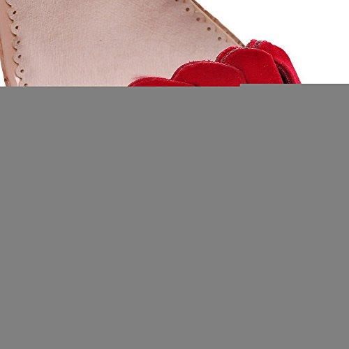 Et Femmes Glissière Glands forme Des Fermeture Haut Sandales De Solides Talon Coin Givré Des Plate De Pu Bout À Voguezone009 De Avec De Rouge Ouvert C5pqHwSUx