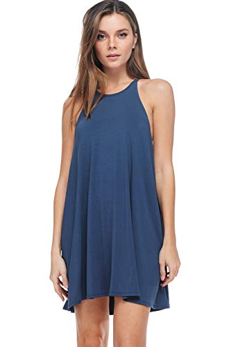 A+D Womens Modal Halter Tank Dress - Casual Knit Swing Tunic (Dark Denim, Small)