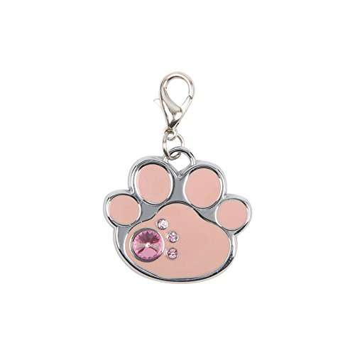Pink Glitter Bone (WDDH Fashion Custom Pet ID Tags Dog Collar with Diamond Bone Shape Footprint Personalize Engraved Glitter for Small Medium Large Dog and Cat Label (Pink Footprint))