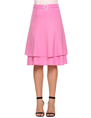 Zeagoo Women's High Waisted Vintage Midi Skirts Double Layer Skirts With Belt And Buckle