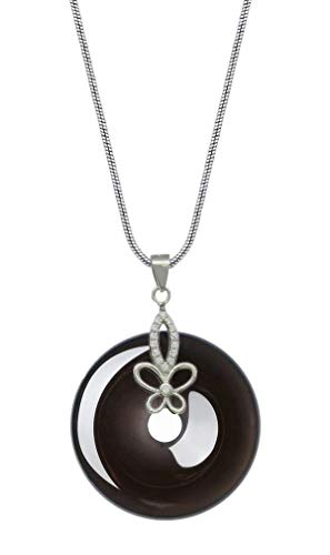 (COOLSOME Silver Butterfly Circle Obsidian Necklace Pendant Natural Crytal Disk Donut Jewelry (Ice)