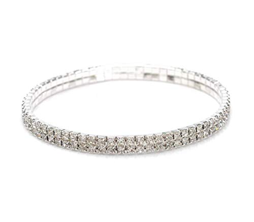 2 Row Stretch Bracelet - Mooinn Crystal Anklet Sexy Rhinestone Stretch Anklets Tennis Ankle Elastic Bracelets for Women-2 Rows