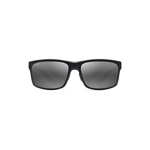Maui Jim Pokowai Arch 439-2M | Polarized Matte Black Rectangular Frame Sunglasses, with with Patented PolarizedPlus2 Lens Technology