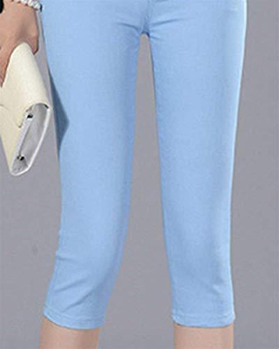 Capri Hx 4 Vita Fit Casua Tinta Donna Da Hellblau A Chic Unita 3 Pantaloni Fashion Jeans Slim Bassa 1fxwq61r