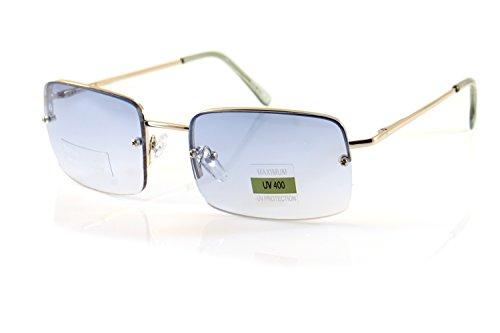 FBL Minimalist Medium Rectangular Sunglasses Clear Eyewear Spring Hinge A173 A174 (Silver/ ()