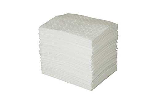 Brady USA OP100 Brady 15 X 19 SPC Oil Plus White 3-Ply Meltblown Polypropylene Dimpled Perforated Full Size Heavy Weight Sorbent Pad, Plastic, 1