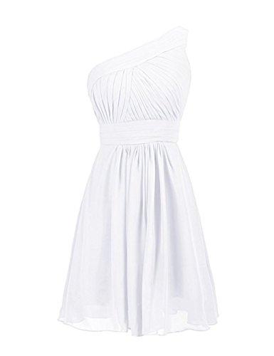 Shoulder Chiffon Simple Short Bridesmaid White Annie's Dresses One Bridal Women's C1wqXt6