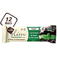 NuGo Slim Dark Chocolate Mint, 18g Vegan Protein, 3g Sugar, 6g Fiber, 180 Calories, Low Net Carbs, Gluten Free, 12 Count